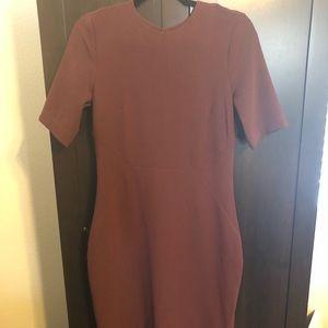 H&M burgundy slit back dress
